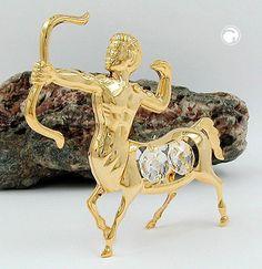 Schütze mit Kristall-Glas, gold-plattiert
