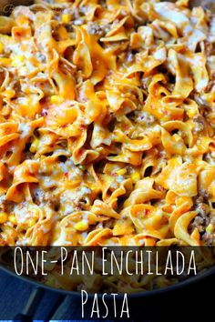 MAN This Recipe ROCKS! Enough To Feed 8 - 10 and PERFECT For Leftovers - Picky Eater Approved - Anyone can make it :) One-Pan Enchilada Pasta Recipe pasta pasta pasta pasta bake recipes rezepte sauce Egg Noodle Recipes, Easy Pasta Recipes, Dinner Recipes, Easy Meals, Cooking Recipes, Cheap Recipes, Cheap Meals, Dinner Ideas, Recipes With Egg Noodles
