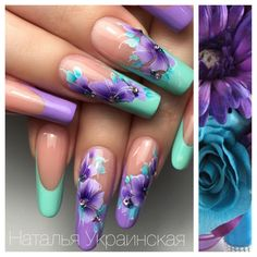 Beautiful Nail Designs of Periwinkle, Lavender, Purple, and a spec of White and Studs on clear nail enamel polish is part of nails - nails Purple Nail Designs, Toe Nail Designs, Nails Design, Salon Design, Stylish Nails, Trendy Nails, Gorgeous Nails, Fabulous Nails, Fancy Nails