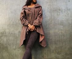 The look of love...Brown thick linen/cotton Autumn by cocoricooo