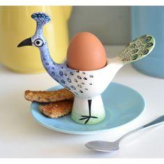 Handmade Ceramic Peacock Egg Cup, retro peacock boiled egg holder, designed in UK by Hannah Turner, spring entertaining, exotic decor Ceramic Tableware, Ceramic Pottery, Ceramic Art, Peacock Eggs, Peacock Art, Pottery Gifts, Egg Holder, Egg Cups, Fine Porcelain