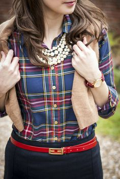 Fall Fashion | Plaid Shirt + Pearls + Sweater. Love the red belt over navy.