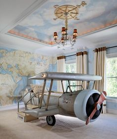 Inspiring for Pint-Sizers: 30 Creative Kids' Rooms - As kids, we all dreamt of having the ability to fly. This airplane bed puts a fun spin on that fant -