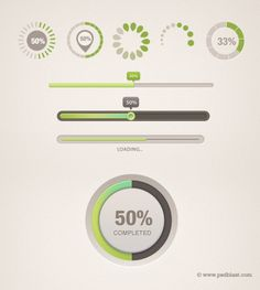 Clean progress bar collection created in Photoshop with vector shape, Different shaped light color loading icon for HTML page loading as we as flash elements. Well organized layered PSD file for designer. Web Design, Icon Design, Graphic Design, Flat Design, Logo Design, Loading Icon, Progress Bar, Ui Design Inspiration, Dashboard Design