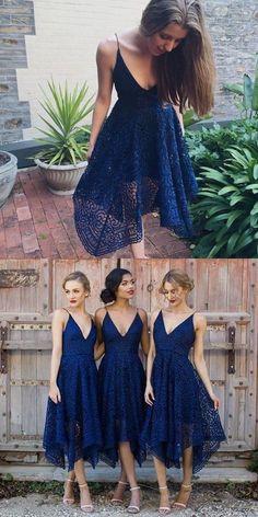 asymmetrical bridesmaid dresses, navy blue bridesmaid dresses, lace bridesmaid dresses, v neck bridesmaid dresses