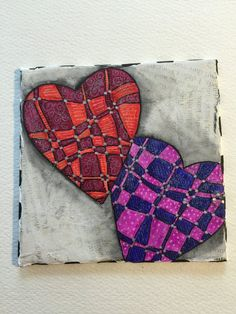 """""""Patchwork Heart Couple"""" Painting on Canvas"""