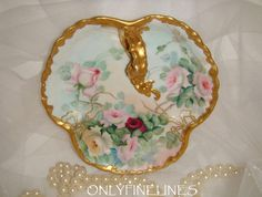 Limoges France Nappy Tray with Hand Painted Roses - Signed - Dated 1901