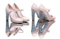 Check out Miu Miu's new line of glitter Mary Jane heels! Would you wear Miu Miu's new Mary Janes? Sparkle Shoes, Glitter Heels, Stiletto Heels, High Heels, Pink Glitter, Miu Miu, Mary Janes, Mary Jane Heels, Vogue