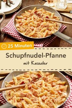 Hearty Schupfnudelpfanne - Pan dishes are quick and easy to prepare. Try the Schupfnudel-Kasseler pan with a creamy sauce! - : Hearty Schupfnudelpfanne - Pan dishes are quick and easy to prepare. Try the Schupfnudel-Kasseler pan with a creamy sauce! Burger Recipes, Snack Recipes, Dinner Recipes, Easy Snacks, Healthy Snacks, Healthy Recipes, Cheap Meals, Easy Meals, Vegetable Recipes