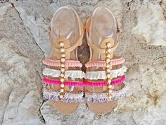 Angelina Sandals  Handmade gladiator sandals with stripes and one ankle strap closure adorned with pom poms and cotton lace and acrylic stone chain.