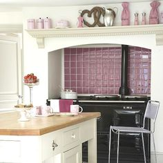 Contemporary country kitchen | Kitchen design | Decorating ideas | housetohome.co.uk. Like the idea of a bold colour for the splash back tiles. Thinking of emerald green