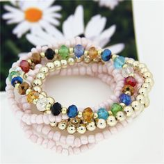 Bohemian Style Crystal Pink Multilayer Charm Bracelets Jewelry Elastic Bangle Bracelet for Girls