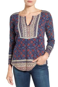 Floral Woodblock Print Blouse by Lucky Brand on @nordstrom_rack