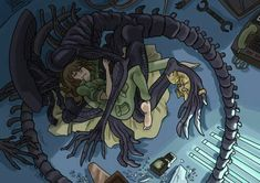 Small tribute to the game Alien Isolation. Les Aliens, Aliens Funny, Aliens Movie, Alien Vs Predator, Predator Alien, Arte Alien, Alien Art, Alien Creatures, Mythical Creatures