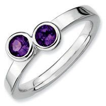 0.47ct Classic Silver Stackable Db Round Amethyst Ring. Sizes 5-10 Available Jewelry Pot. $31.99. 30 Day Money Back Guarantee. All Genuine Diamonds, Gemstones, Materials, and Precious Metals. 100% Satisfaction Guarantee. Questions? Call 866-923-4446. Fabulous Promotions and Discounts!. Your item will be shipped the same or next weekday!. Save 58%!