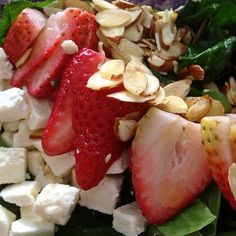 Simple and delicious Strawberry Spinach Salad I made last night: Sliced Strawberries, Silvered Almonds, Feta Cheese over Spinach with an Orange Vinaigrette: Orange Vinaigrette:1/4 cup of Orange Juice with Pulp, 1 Tbsp. balsamic vinegar, 1 Tbsp. honey, 1/4 cup extra virgin olive oil, salt and pepper