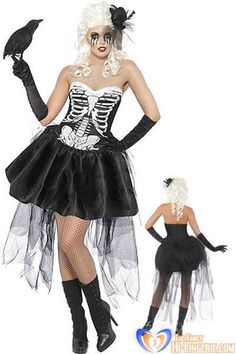 Free Shipping 2013 New Plus Size Skeleton Fancy Dress   Black with White Cosplay Halloween Costumes wholesale HL1393-in Costumes from Appare...