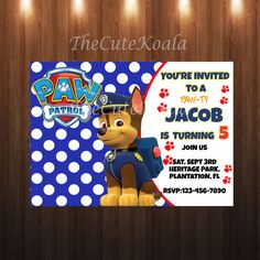 Paw Patrol Invitation  CHASE by TheCuteKoala on Etsy