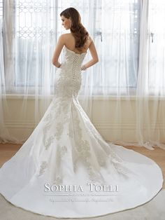 Sophia Tolli Y11636 – Reine - Strapless sweetheart Paris satin trumpet wedding dress, crystal hand-beaded lace appliqué bodice with dropped waist, back corset, chapel length train. Removable spaghetti and halter straps included. Also available with a back zipper as style Y11636ZB.