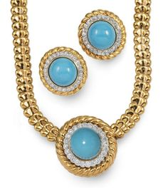 A turquoise, diamond and 18k gold necklace and pair of earrings