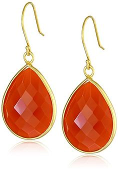 GoldPlated  Sterling Silver Faceted  Dyed Red Agate Teardrop Earrings -- Visit the image link more details.