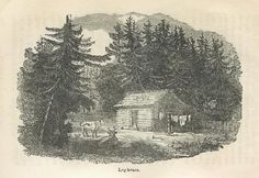 """Log House"" from Catherine Parr Traill's ""The Backwoods of Canada,"" published in Catherine Parr, Pioneer Life, Canadian History, Log Homes, Family History, Roots, Empire, Canada, Artist"