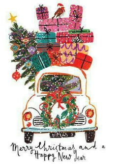 VW Beetle with Christmas Presents