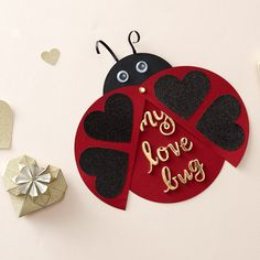 Make this tactile Valentine's Day card that cleverly using a paper fastener to help this ladybird spread it's wings! Add your own sentiment to the middle of the card using gold self-adhesive stickers.