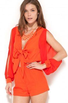 Tie Front Romper in Tangerine