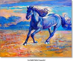 Blue horse - Artwork - Art Print from FreeArt.com Free Art Prints, Canvas Art Prints, Henri De Toulouse Lautrec, Horse Artwork, Blue Horse, Modern Impressionism, Canvas Pictures, Oil Painting Abstract, Illustration Art