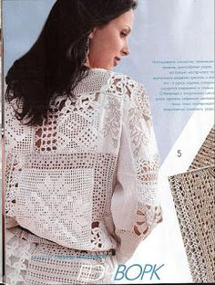 Sort of a patchwork / filet crochet effect . Filet Crochet, Pull Crochet, Crochet Tunic, Freeform Crochet, Crochet Chart, Irish Crochet, Crochet Clothes, Knit Crochet, Crochet Patterns