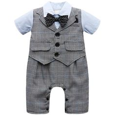 72392839865b Baby Boy Gentleman Romper Short Sleeve with Bow Tie Suit Set Infant Toddler  Vest Party Jumpsuit Stripe with Hat Cute Wedding