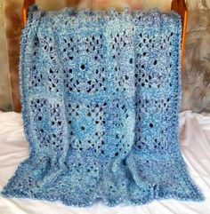 Blue Lace Afghan, crocheted, 48 by 60 inches - Zibbet.com/jan4insight. This afghan would make a fabulous wedding or housewarming gift! $75.00