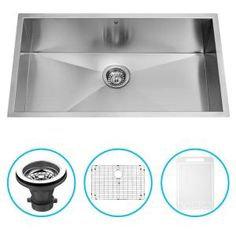 Vigo, Undermount 32 in. Single Bowl Kitchen Sink with Grid and Strainer in Stainless Steel, VG3219CK1 at The Home Depot - Mobile