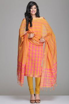 Pink And Mustard Checkered Mangalagiri Cotton Unstitched Suit With Gold Zari Border