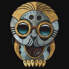 Cute Steampunk Robotic Baby Owl | Jeff Bartels