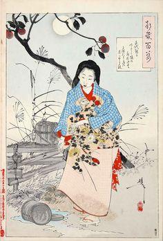 Yoshitoshi Tsukioka.千代能かいたゝく桶の底ぬけてミつたまらねハ月もやとらす(『月百姿』シリーズ/画・月岡芳年)の拡大画像