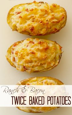 Twice baked potatoes with bacon and ranch are anything but ordinary! Prefect a a side dish or an appetizer! Veggie Side Dishes, Potato Dishes, Potato Recipes, Vegetable Recipes, New Recipes, Cooking Recipes, Favorite Recipes, Healthy Recipes, Summer Salad Recipes