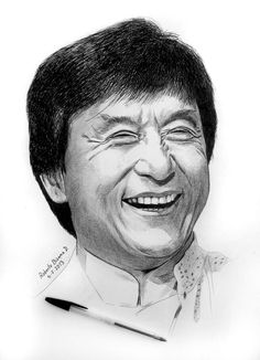 Art by Roberto Bizama Jackie Chan Art Drawings Beautiful, Cool Art Drawings, Art Drawings Sketches, Horse Drawings, Drawing Art, Jackie Chan, Portrait Sketches, Pencil Portrait, Portrait Art