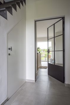Smeedijzeren deur met glas en paneel in smeedijzer