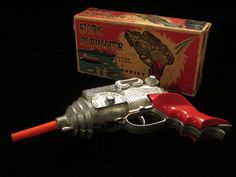 Hubley only made one ray gun, and they knocked it out of the galaxy with the bulbous barrel design and fine futuristic details of this iconic and well-built cap gun. This is an extremely pristine example of the 1950s Hubley Atomic Disintegrator—with its complete and rarely ever seen box.