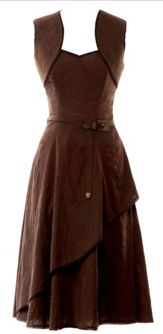 Brown belted dress with queen-anne neckline