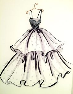 Fashion Iluustration Printt-Chic Dress by loveillustration on Etsy