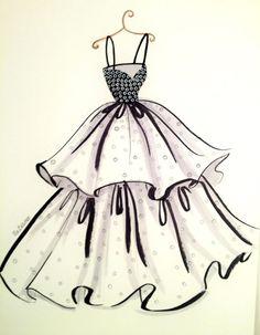 ORIGINAL Fashion Illustration-Chic Dress