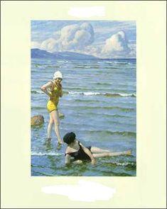 Girls Bathing by Paul-Gustave Fischer (Copenhagen, 1860 - Gentofte, (hva) Seaside Art, Beach Art, House Painting, Painting & Drawing, Lund, Online Gallery, Art Gallery, Fisher, Bath Girls
