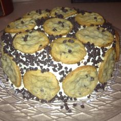 Chocolate chip cookie cake with cookie dough filling