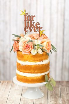 Rustic wedding cake topper #nakedcake #caketopper #cakes #weddingcake #rusticwedding