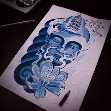 Resultado de imagem para desenho rosto buda para tattoo