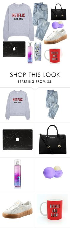 """""""Netflix & Chill❤️❤️"""" by salmaaytb ❤ liked on Polyvore featuring Wrap, MICHAEL Michael Kors, Eos and Puma"""