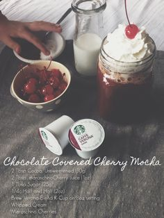 The only thing left to do is try it.  Chocolate-Covered Cherry Mocha. #KCupRecipes #Coffee #Yum